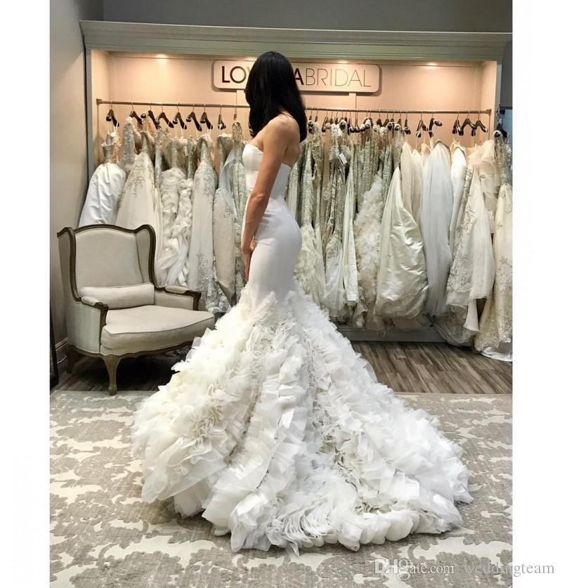 Gorgeous Ruffled Mermaid Wedding Dresses Strapless Neck Bridal Gowns Cheap Sweep Train Trumpet Satin Wedding Dress