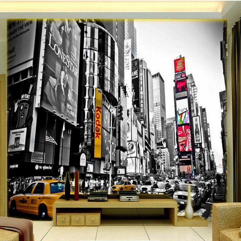 3d Stereo Custom Retro Black White New York Times Square Tv Backdrop Wallpaper Living Room Restaurant Bedroom Mural Hollywood Wallpapers Home From