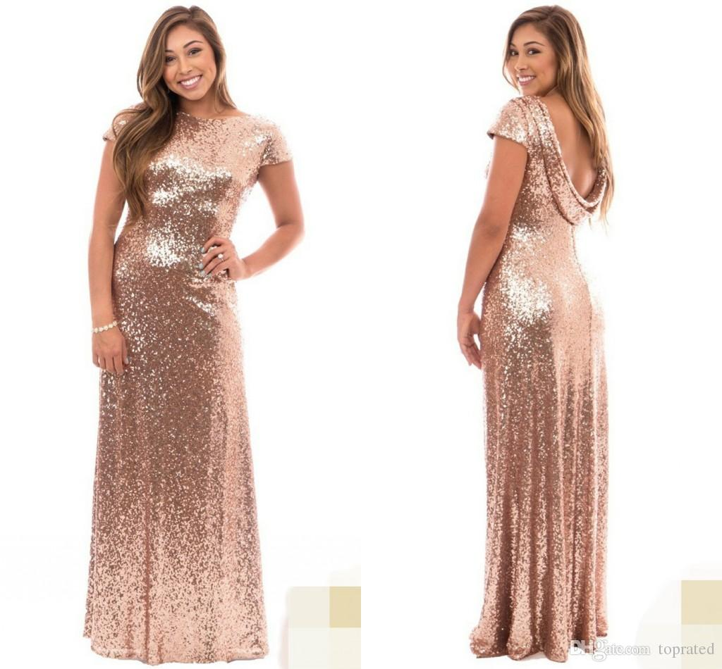 Rose Gold Plus Size Long Bridesmaid Dresses With Short Sleeve