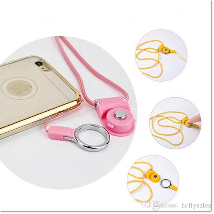New Rotatable detachable Neck Strap Ring Lanyard hanging Charming Charms For iphone samsung smart phone MP3 MP4 Flash Drives ID Card holder