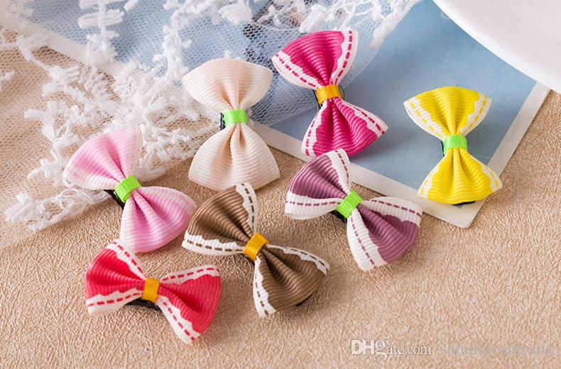 DHL Free 55 designs Girls Bow Knot Hair Clips Floral Printed Hair Pins 55 Candy Colors Barrettes Korean Styles Children's Hair Clips Claws