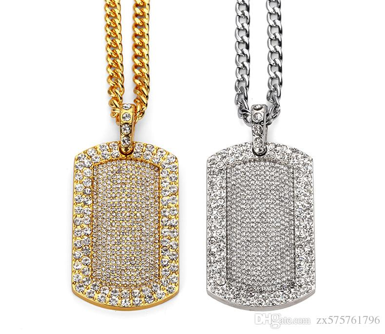 Wholesale fashion men ice out dog tag pendant necklaces jewelry full wholesale fashion men ice out dog tag pendant necklaces jewelry full rhinestone 18k gold plated long chain filling pieces mens punk hip hop rock silver aloadofball Gallery