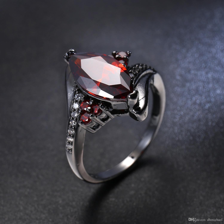 Marke Rubin Zirkon Schwarzes Gold Gefüllt Liebhaber Engagement Hochzeit Versprechen Ring
