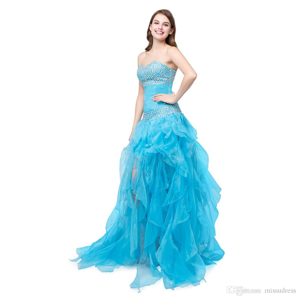 Sweetheart Blue Cheap Prom Dresses With Crystal Organza Tiered Pink ...