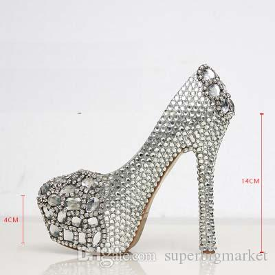 Gümüş Özel Yapmak artı boyutu yüksek topuk kristaller ve rhinestones gelin düğün Ayakkabı Pompaları Elmas Lady Ayakkabı Parti Balo Yüksek Topuklu