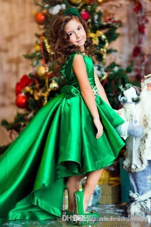 New Design Emerald Green Satin Girls Pageant Dresses Crew Neck Cap Sleeves Short Kids Celebrity Dresses 2017 High Low Flower Girls Gowns