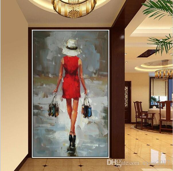 Handmade Oil Painting Sexy Portraits Art Beautiful Red Skirt Sexy Shopping Lady Picture Wall Art Girl Picture Home Decor