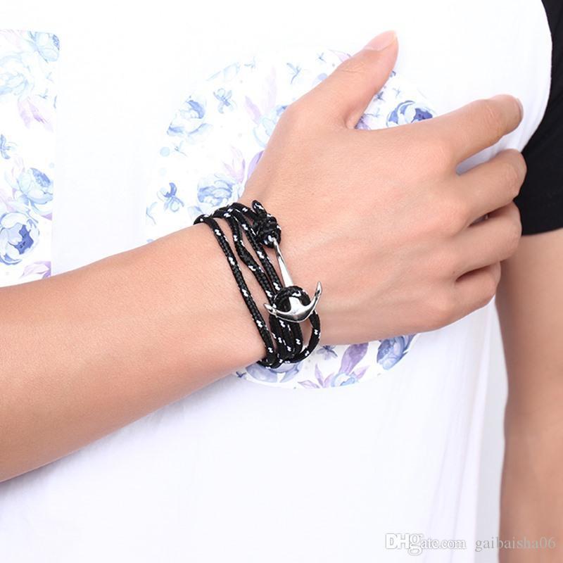 Морские мужские браслеты серебряные позолоченные анкерные рыбы черные нейлоновые канаты многослойные браслеты для женских ювелирных изделий