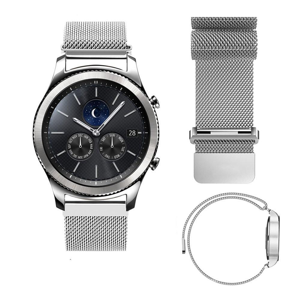 22MM Magnetic Milanese Loop For Samsung Gear S3 Classic S3 Frontier Watch Band Bracelet Strap Stainless Steel Band black sliver
