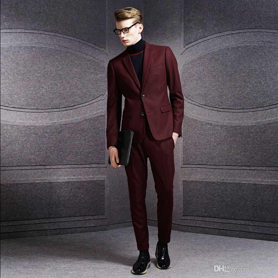 Classy Dark Red Wedding Tuxedos Slim Fit Suits For Men Jacket And ...