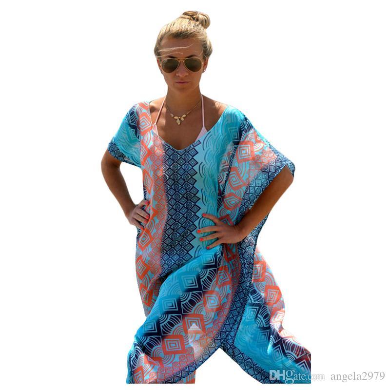 a415fc60ce47c 2019 Sexy Women Swimwear Kaftan Beach Dress Bathing Suit Swimsuit New  Sundress Cover Up Kaftan Chiffon Sarong Summer Women Wear Lady Swim Bikini  From ...