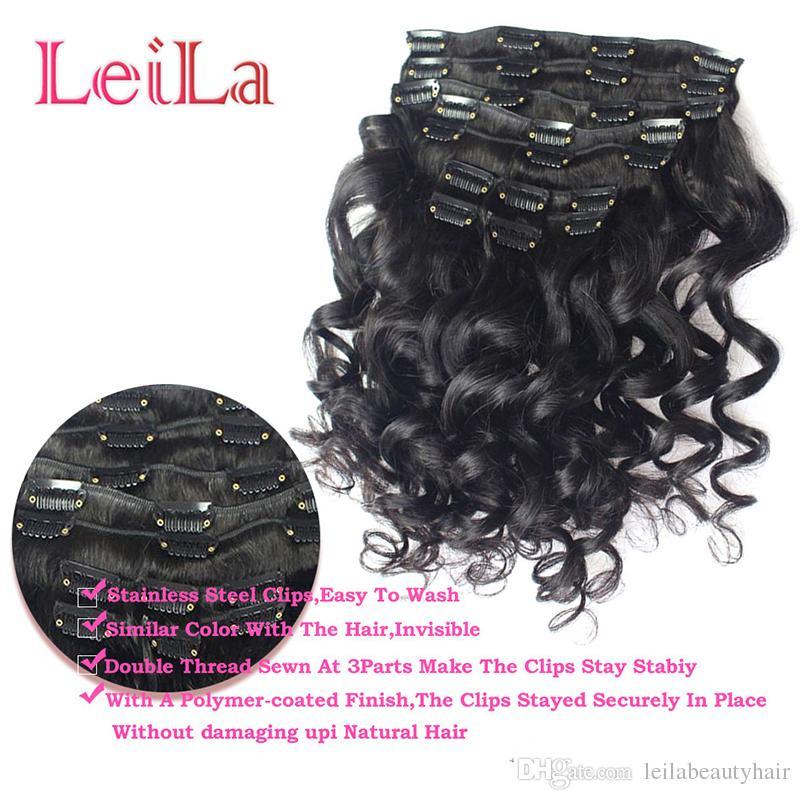 Малазийский Клип волос девственницы в человеческих волосах Свободной волны Зажиме в человеческом волосе 70-120 7шта / г Сыпучей волны