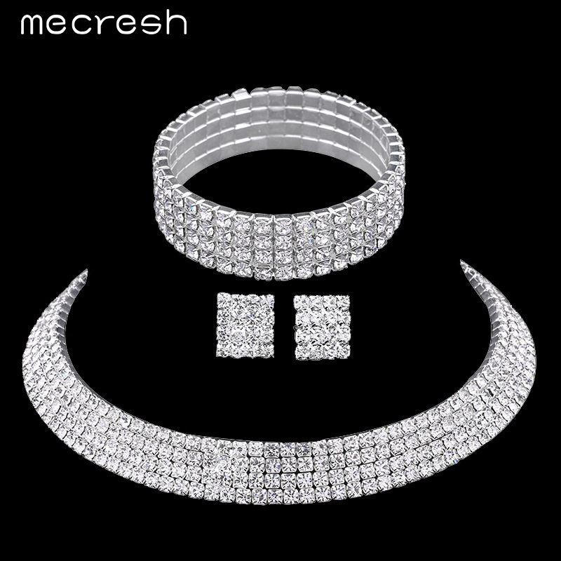2019 Mecresh Crystal Bridal Jewelry Sets Silver Color Rhinestone Necklace  Wedding Engagement Jewelry Sets For Women TL299+SL116 From Meerstore 9de09fa372fe