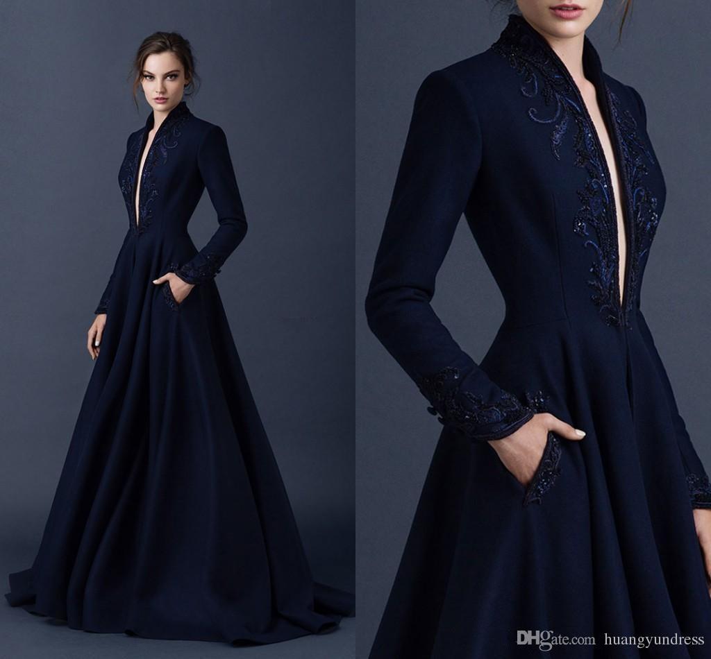 Navy Blue Evening Dresses Paolo Sebastian Evening Dress Custom ...
