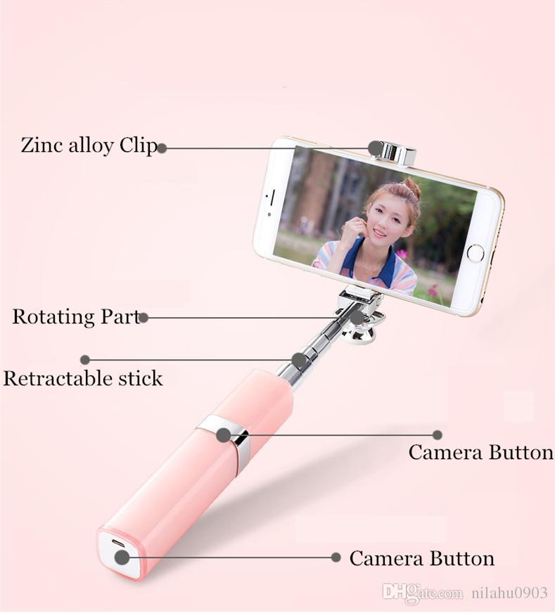 2017 Yeni varış Mini iPhone ve android cep telefonu katlama selfie'si sopa ruj Parfüm Tasarım DHL ücret karşılığında kablolu selfie'si sopa ruj