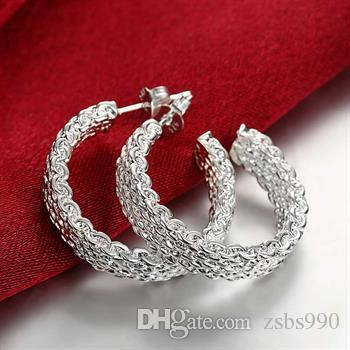 high quality 925 silver mesh bangles ring earrings charm Jewelry Set for women fashion simple style