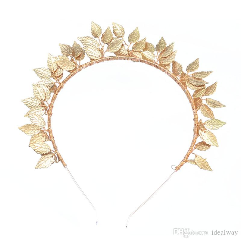 European New Shiny Alloy Copper Wire Leaves Traditional Handmade Costume Gold Plated Headwear Accessories Fashion Jewelry