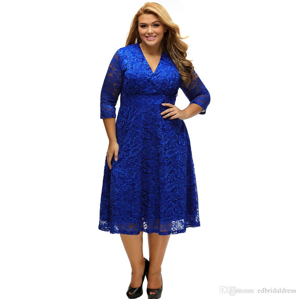 Plus Size Lace Cocktail Dresses Three Quarter Long Sleeves ...
