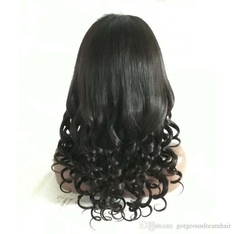 Straight to Curly Hair Style Brazilian Human Hair Full Lace Wig With Baby Hair Glueless Lace Frontal Wig