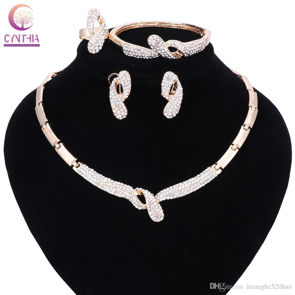 754dc22b0b2 2019 Fashion Big African Beads Jewelry Set Exquisite Dubai Gold Color  Crystal Necklace Jewelry Set Nigerian Wedding Bridal Bijoux From  Huanghe520hao, ...