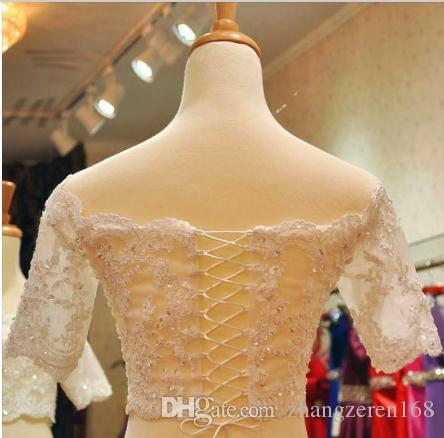 Plus Size Wedding Boleros Lace Up Back Half Sleeves Lace Bridal Shrugs Boleros Jackets Wedding Coat Custom Made