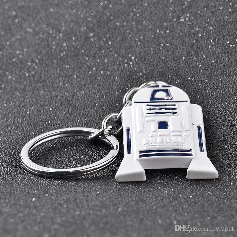 Trendy Jewelry Silver Plated Alloy robot KeyChain Children R2-D2 R2 Keychain Star Trek Key chain Ring Pendant 2018 hot y030