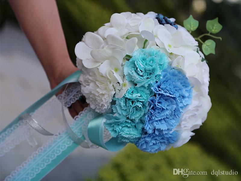 Light Blue And White Bridal Bouquets High Quality Wedding ...