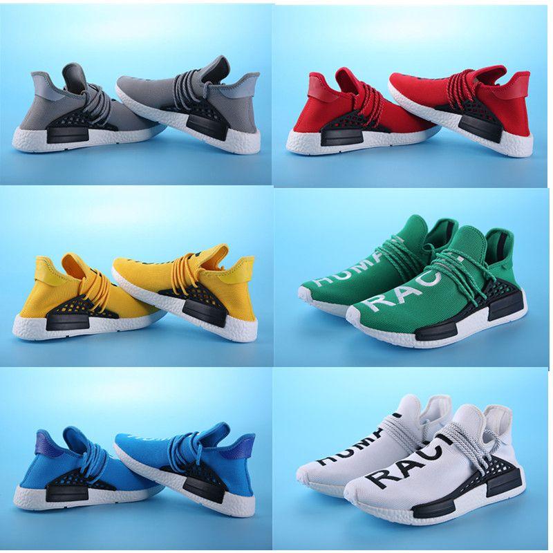 purchase cheap c920f 29ae6 Compre Bb0619 Amarillo 2016 Pharrell Williams X Nmd Raza Humana Zapatos De  Calidad Superior Real Boost Parte Inferior Con Pezones Hombres Zapatos Para  ...