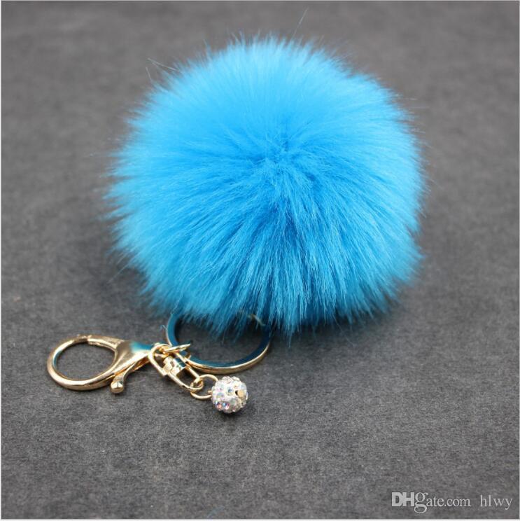 Echte Kaninchenfell Ball Keychain weiches Fell Ball schöne Gold Metall Schlüsselanhänger Ball Pom Poms Plüsch Keychain Auto Schlüsselanhänger Tasche Ohrringe Zubehör