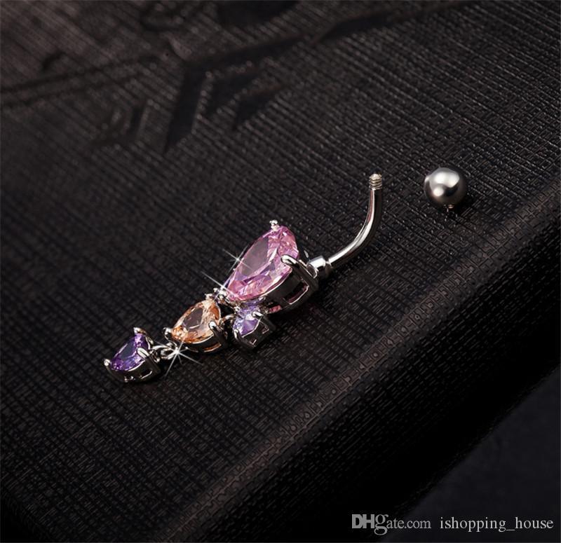 Moda in oro bianco placcato in oro sexy 316L medico chirurgico in acciaio inox piercing gioielli pancia anello di pancia 3 cuori zircone ombelico anello BR-055