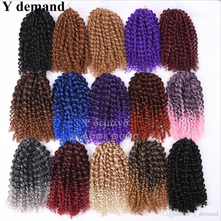 Mode 8 '' Mali bob Ombre Twist Crochet Tresses Cheveux Courts Synthétique Kanekalon marley Afro Kinky Braid Extension De Cheveux
