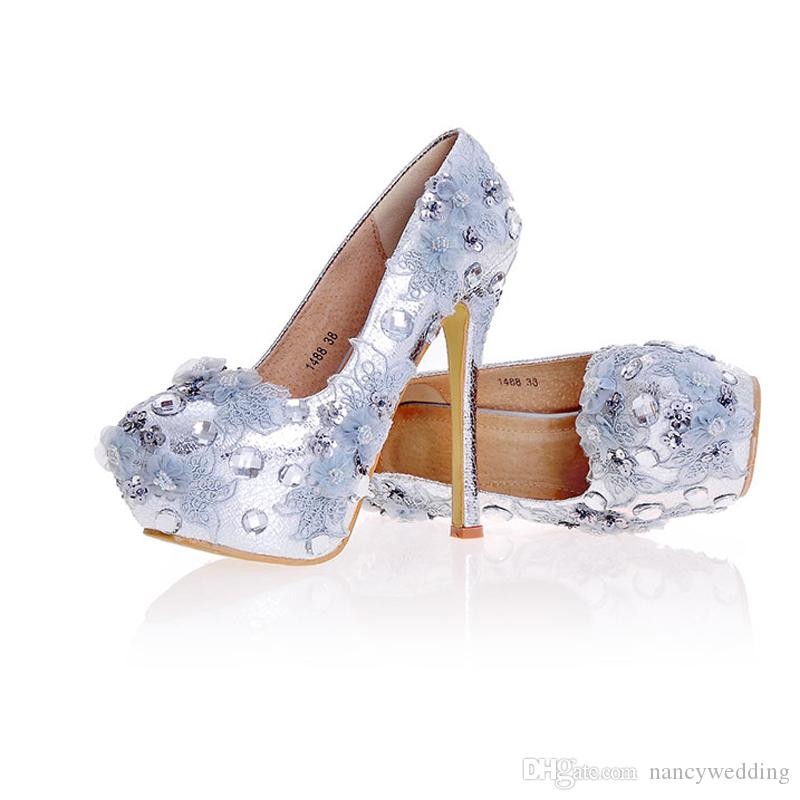 Silver Bridesmaid Shoes New Designer Handmade Wedding Bridal Shoes Simple High Heel Party Event Pumps Plus Size More Heels