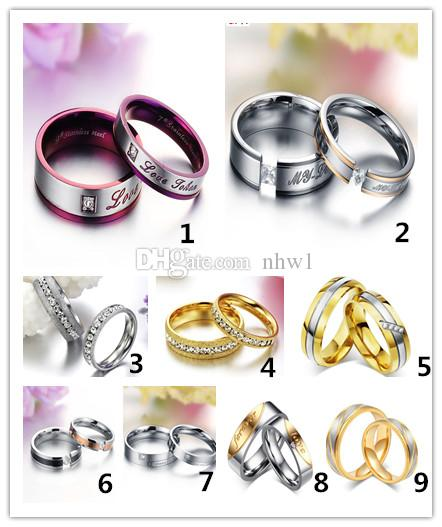 Fashion Couple Rings Stainless Steel Ring For Women MenTitanium Wedding Rings With Rhinestone Jewelry Engagement Wedding Gift