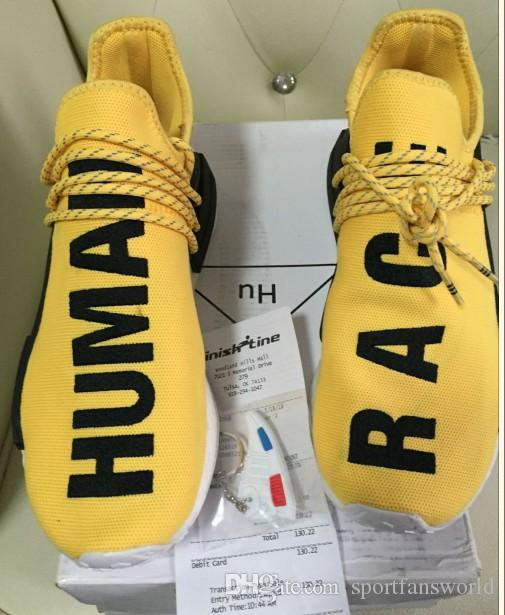 bfbb9b153d213 2019 Pharrell Yellow Black 2017 New Updated Version BB0619 HUMAN RACE Shoes  Pharrell Williams X Real Boost With Nipples Men Running Shoes From ...