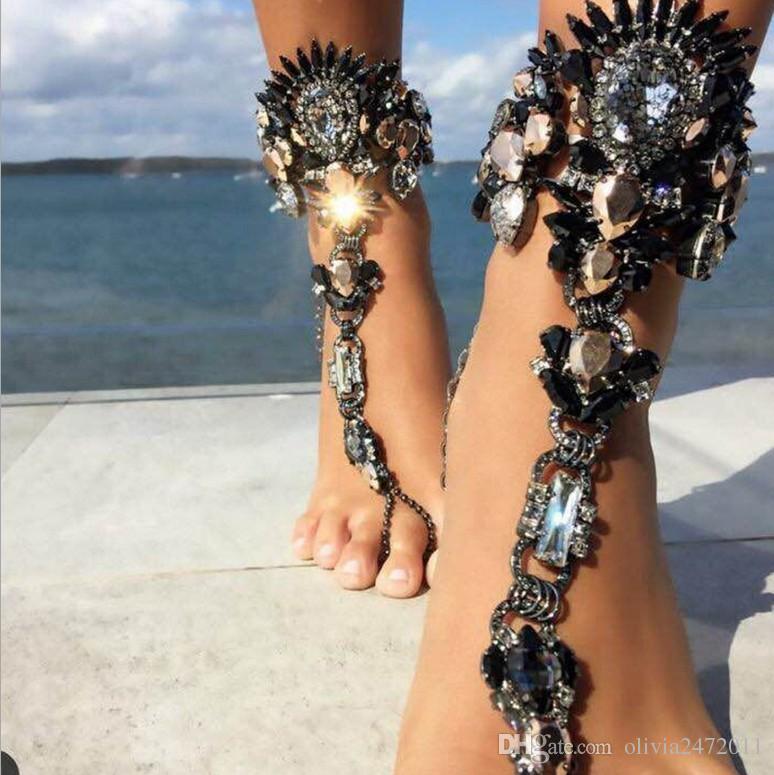 Mujeres Long Beach Summer Big Gemstone Pulsera de Tobillo Sandalia Sexy Cadena Pierna Boho Crystal Tobillera Joyería Declaración YT