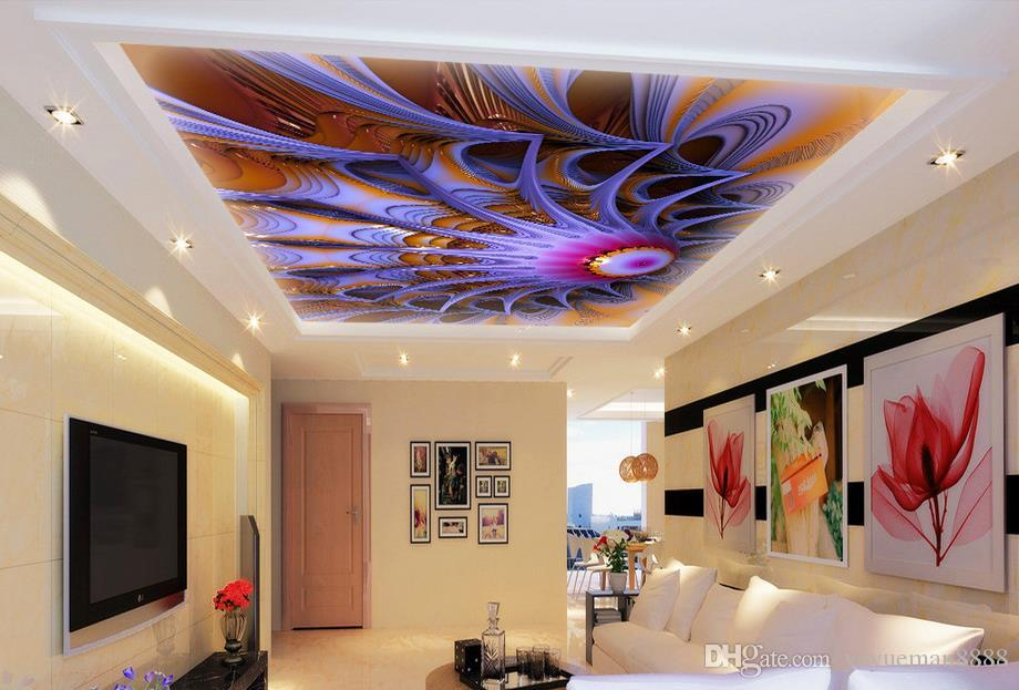 custom 3d sky ceiling wallpaper Rose blue sky and white clouds 3d ceiling wallpaper living room landscape wall paper