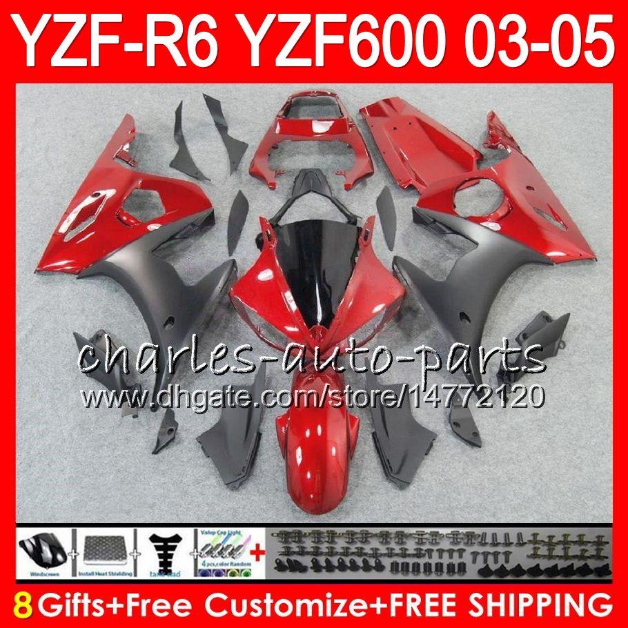 8Gifts Body Pour YAMAHA YZF600 YZFR6 03 04 05 YZF-R600 56HM6 YZF R 6 YZF 600 YZF-R6 YZF R6 2003 2004 2005 Kit de carénage Rouge foncé noir