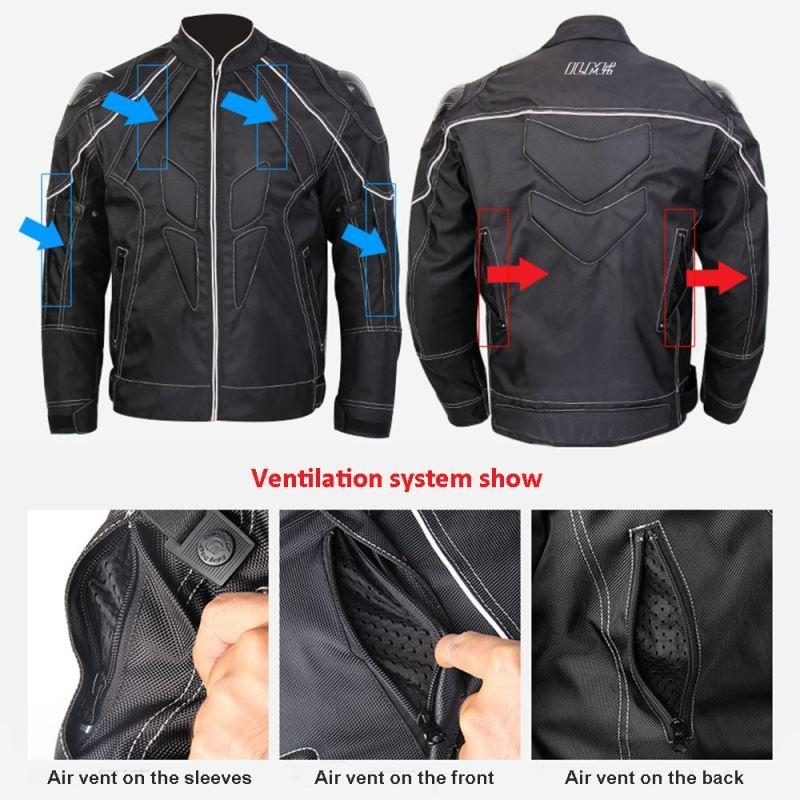ILM New Motorcycle Racing Jacket With Carbon Fiber Armor Shoulder Professional Mesh Breathable Motocross Jacket Black Size S-XXL