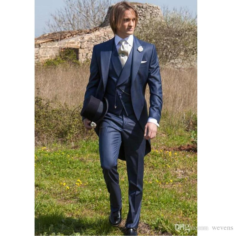 Handsome Blue Three Piece Suit Tailcoat for Wedding Groom Peaked Lapel One Button Slim Fit Mens Suits