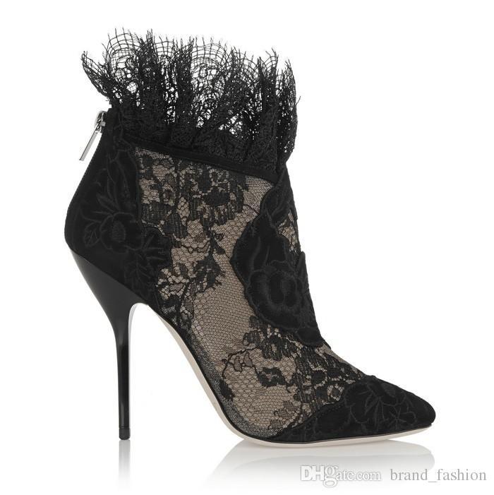 Mode britannique femmes automne bottillons sexy bout pointu bottines de luxe dentelle noire à talons hauts robe formelle pompes plus la taille 42