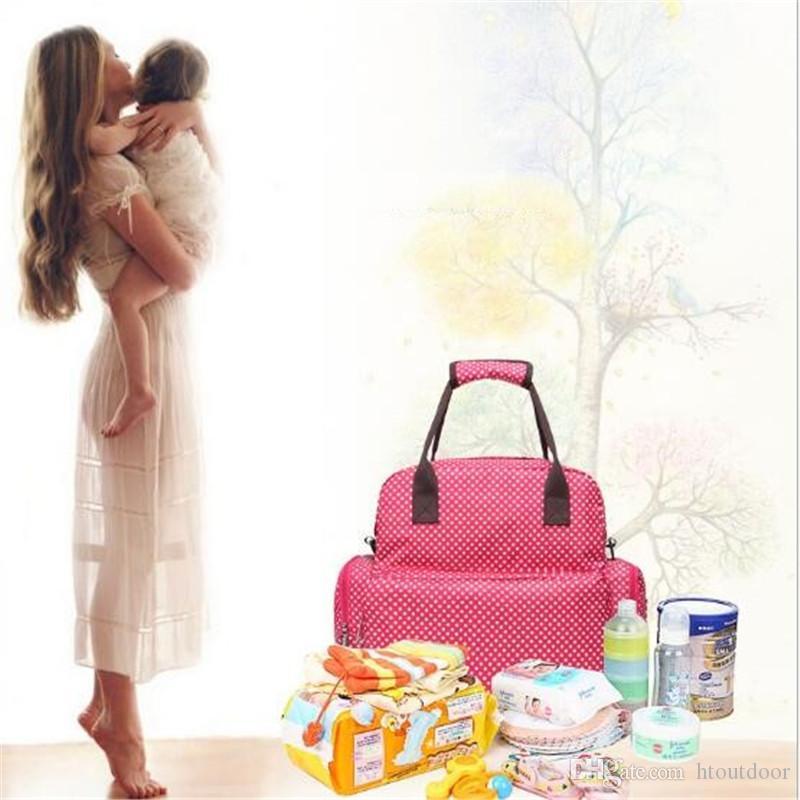20 stücke Mode Lässig Mummy Mutterschaft Windel Rucksack Tasche Große Kapazität Infant Polka Dot Mama Baby Tasche Outdoor-reisen Handtasche Pack