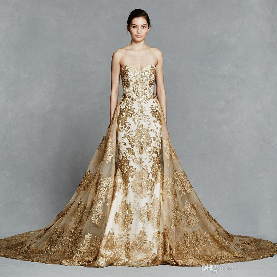 Wedding Dresses With Gold Over Skirt Detachable Ball Gown ...