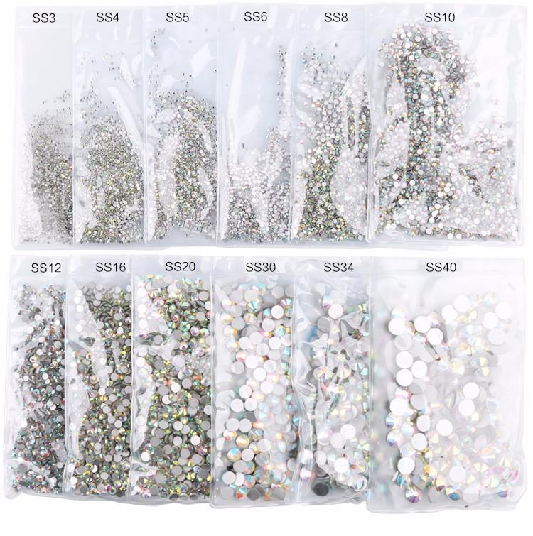 Hot Super Glitter ss3-ss50 Crystal AB Flat Back Non HotFix Rhinestone 3D Glass Nail Art Rhinestones mix sizes Decorations