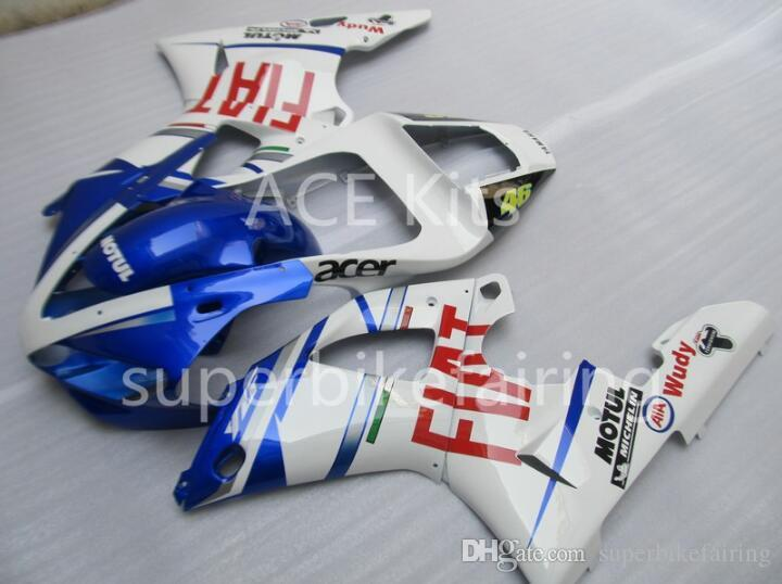 3Gifts Nueva venta caliente kits de carenados de bicicleta para YAMAHA YZF-R1 1998 1999 R1 98 99 YZF1000 Cool Blue White SX23