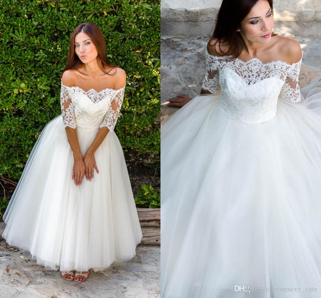 Cute Short Wedding Dresses Off Shoulder Half Sleeves Lace Tulle Beach Wedding Dresses Bateau Neck Ankle Length Wedding Gowns Bridal Dresses