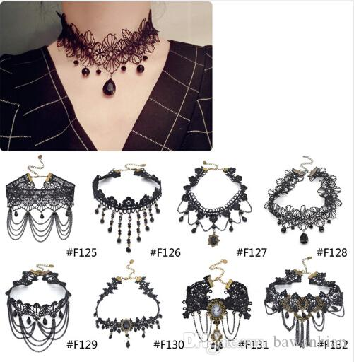 Newest Style Gothic Victorian Crystal Tassel Tattoo Choker Necklace Black Lace Choker Collar Vintage Women Wedding Jewelry