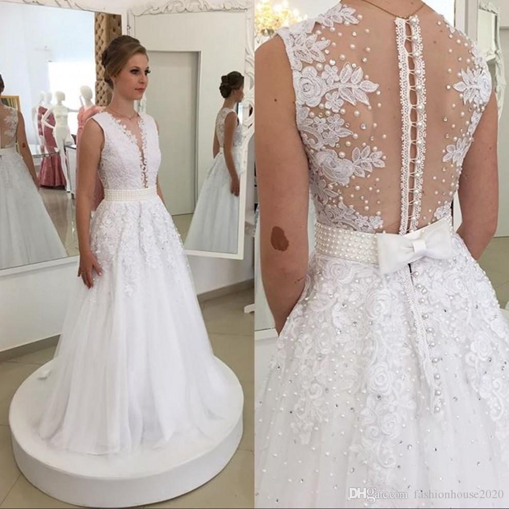 White Pearl Lace Wedding Dresses With Deep V Neck Applique Beading Belt Bow Back A line Wedding Bridal Gowns Real Image Corset v Bride Dress