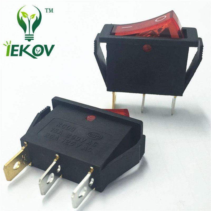 100шт/лот перекидной переключатель KCD3-101N красный 3-контактный 2 шестерни KCD3 перекидной кнопки переключатели 10А выключатель питания