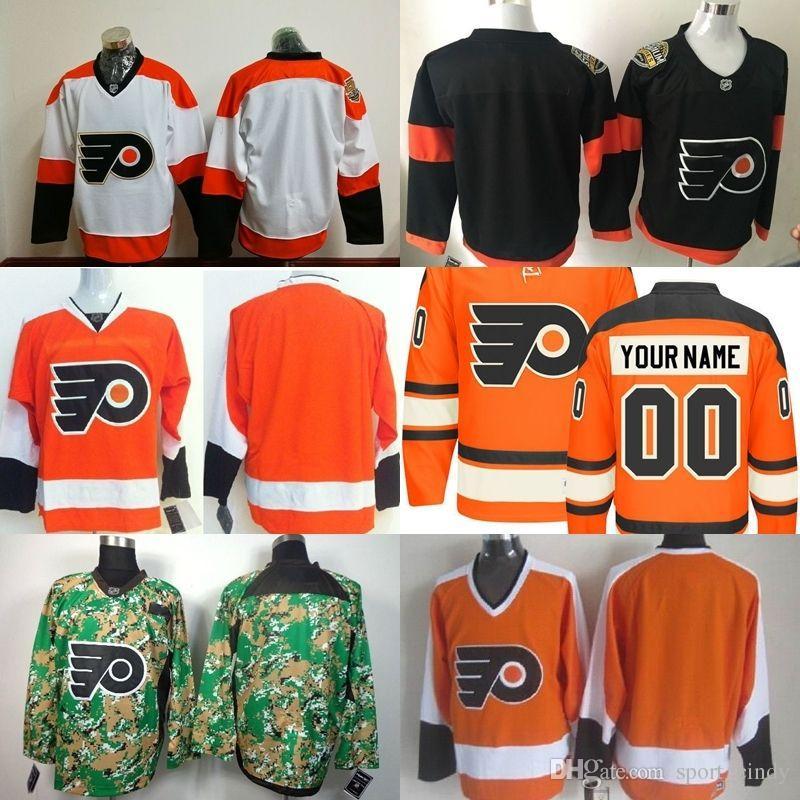 ... 2017 Customized Philadelphia Flyers Jerseys Hockey Jerseys Simmonds17  Gostisbehere53 Mens Any Name Any Number Orange Black ... 0dbe82bec