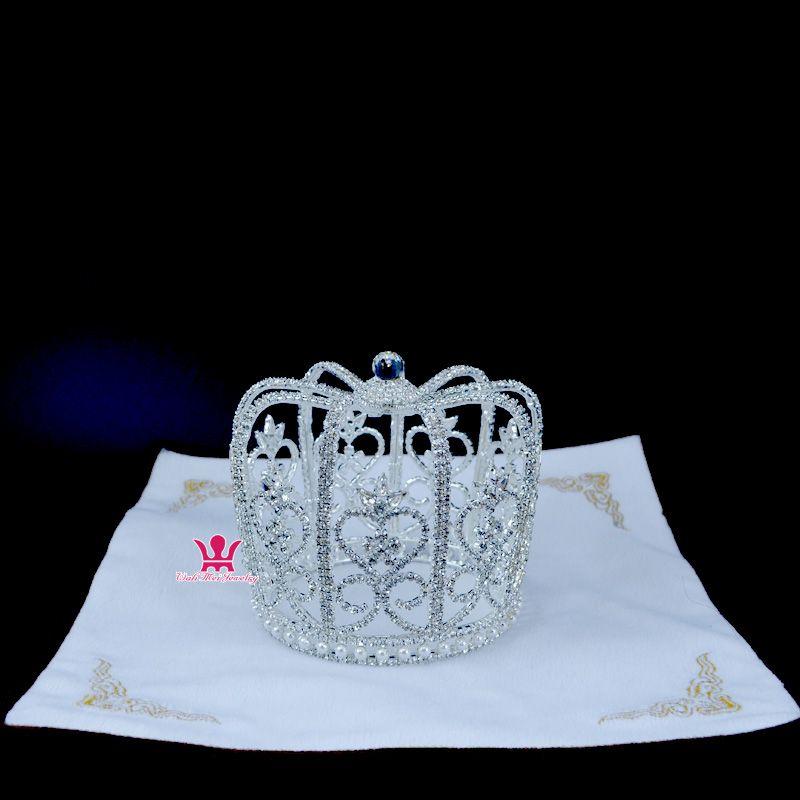 Royal Crown Tiara Hat Cap Shape Hair Jewelry Rhinestone Crystal Full Round Queen`s Princess`s Headwear pretty girl Bridal Wedding Mo087